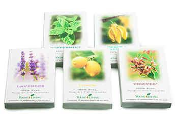 Zestaw 50 saszetek olejków eterycznych Lavender, Lemon, Peppermint, Thieves® i Peace-And-Calming®